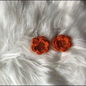 Orange flower earrings